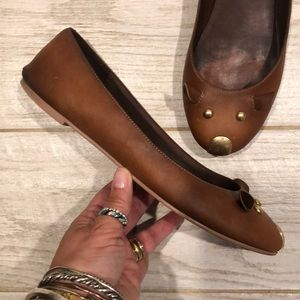 Rare 90s Marc Jacobs Leather & Brass Mouse Flats